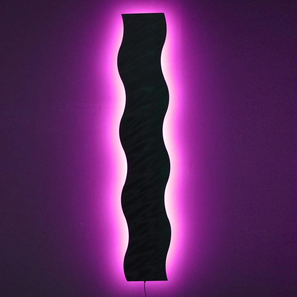 Light Wave  with Smartphone WiFi Control - Abstract Metal Wall Art with LED Infused Color Changing Lighting & Light Wave