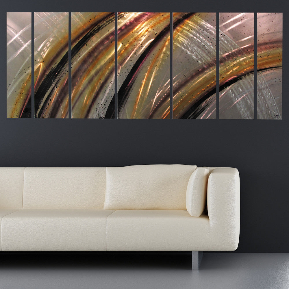 "Neutral Wall Art solar flare"" 68""x24"" large modern abstract metal wall art"