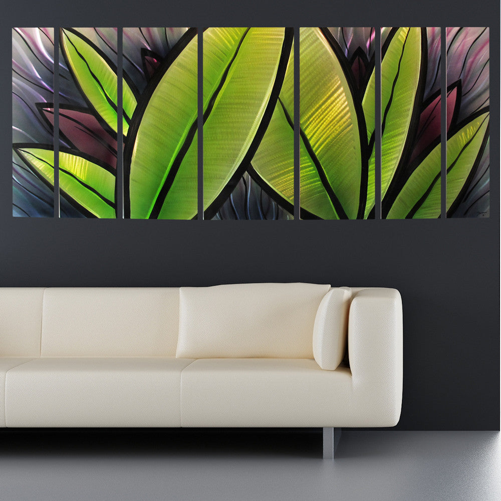 "Large Metal Wall Art grand oasis"" 66""x24"" large modern abstract metal wall art"