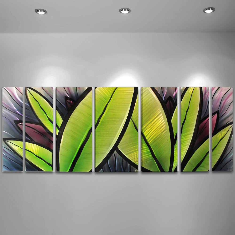 "Large Modern Wall Art grand oasis"" 66""x24"" large modern abstract metal wall art"