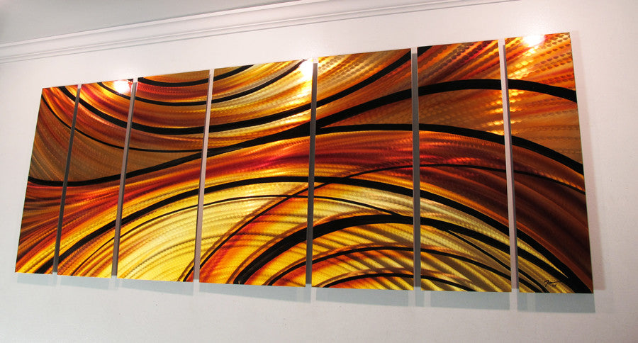 Mirage  68 x24  Orange Large Modern Abstract Metal Wall Art Sculpture & Mirage