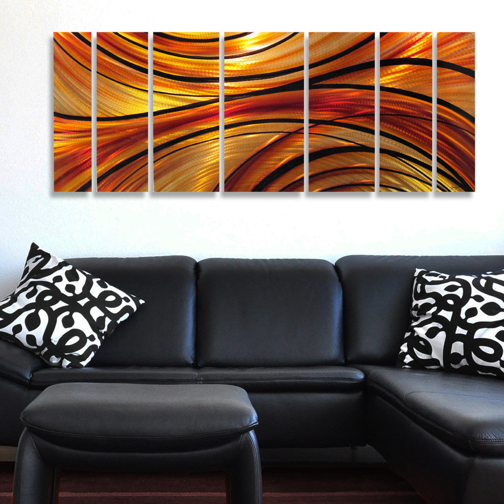 "Orange Wall Art red wall art ""rhythmic curves"" metal wall sculpture - dv8 studio"
