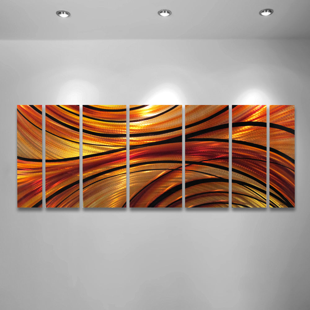 "Large Modern Wall Art inferno"" 68""x24"" large modern abstract metal wall art sculpture"