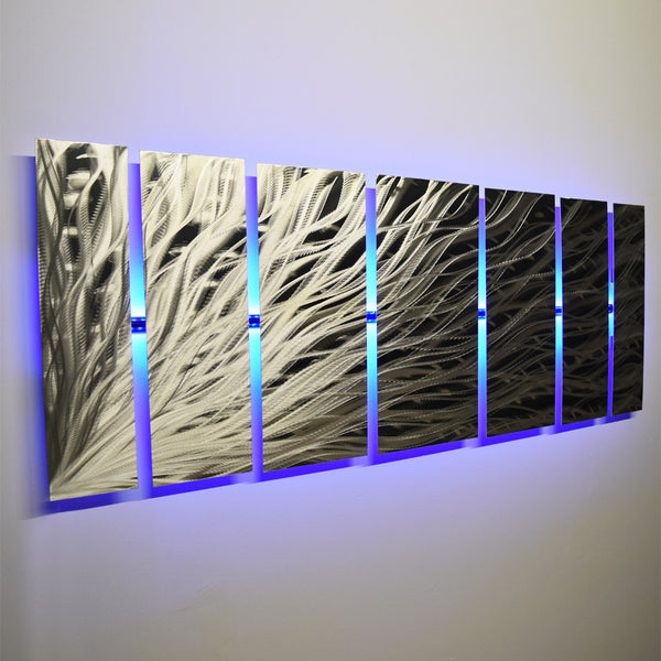 "Metal Sculptures And Art Wall Decor: ""Silver Rush"" 68""x24"" Large Silver Wall Art"