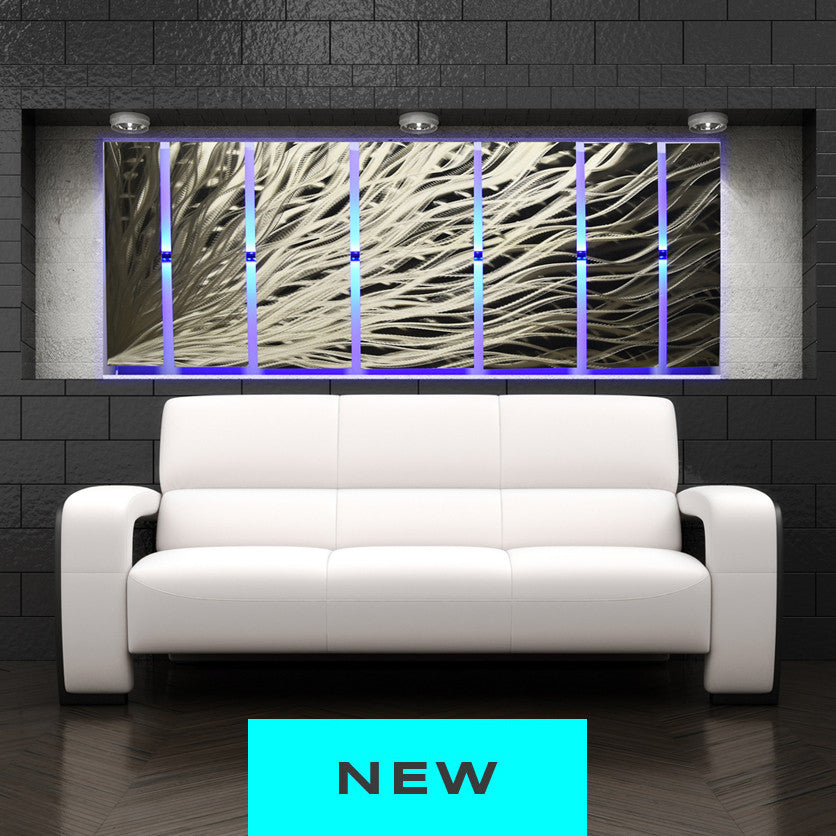 "Led Wall Art silver rush"" 68""x24"" large silver wall art 