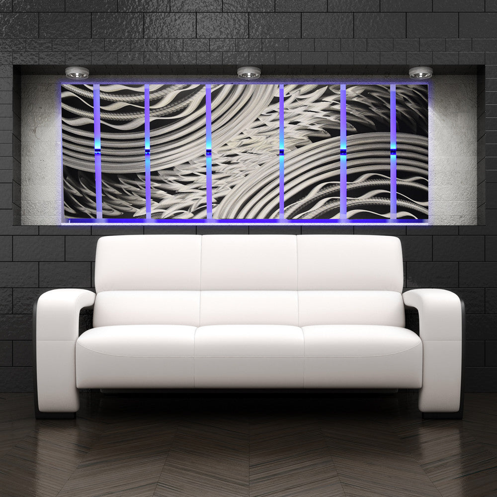 "Silver Wall Art Silver Rush"" 68""x24"" Large Silver Wall Art  Dv8 Studio"