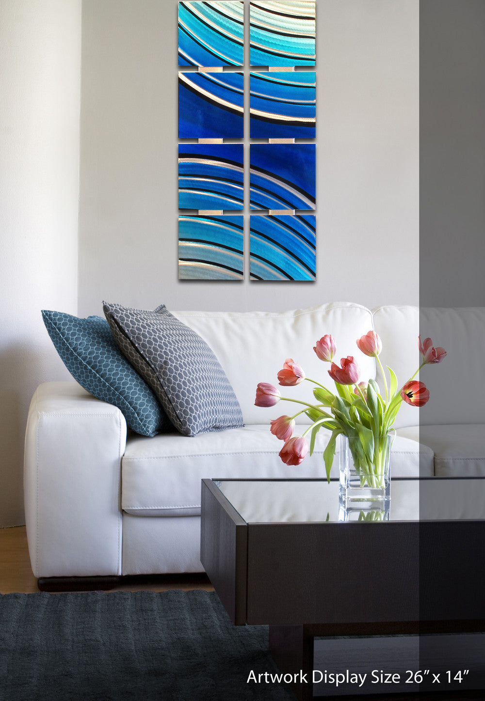 Metal Wall Decorations For Living Room Bloom 68x24 Large Silver Modern Abstract Metal Wall Art