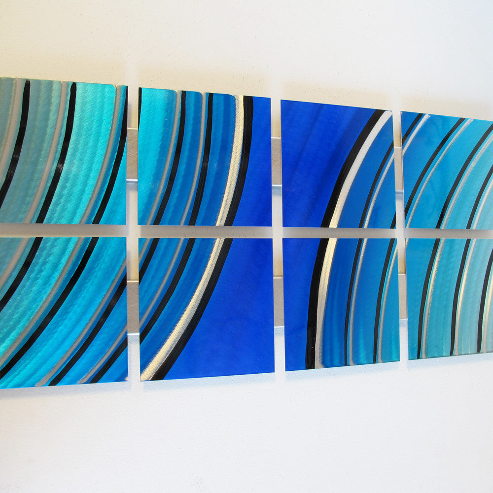 "Teal Metal Wall Art Grand Finale"" 68""x24"" Large Modern Abstract Metal Wall Art"