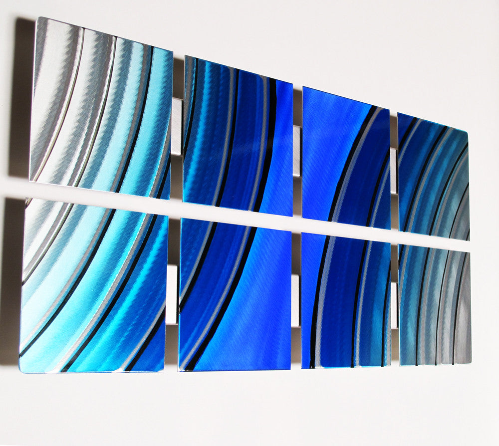"Blue Metal Wall Art ocean mist"" 48""x8"" modern abstract metal wall art sculpture decor"