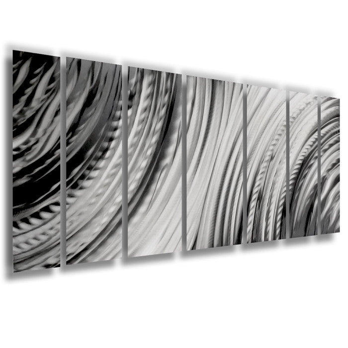 "Metal Wall Art Panels main attraction"" 66""x24"" large earthtone silver modern abstract"