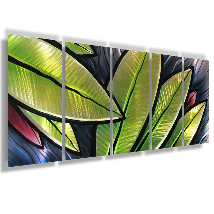 "Large Metal Wall Art tropical utopia"" 66""x24"" large modern abstract metal wall art"