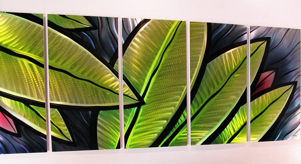 """Tropical Utopia"" 66""x24"" Large Modern Abstract Metal Wall"
