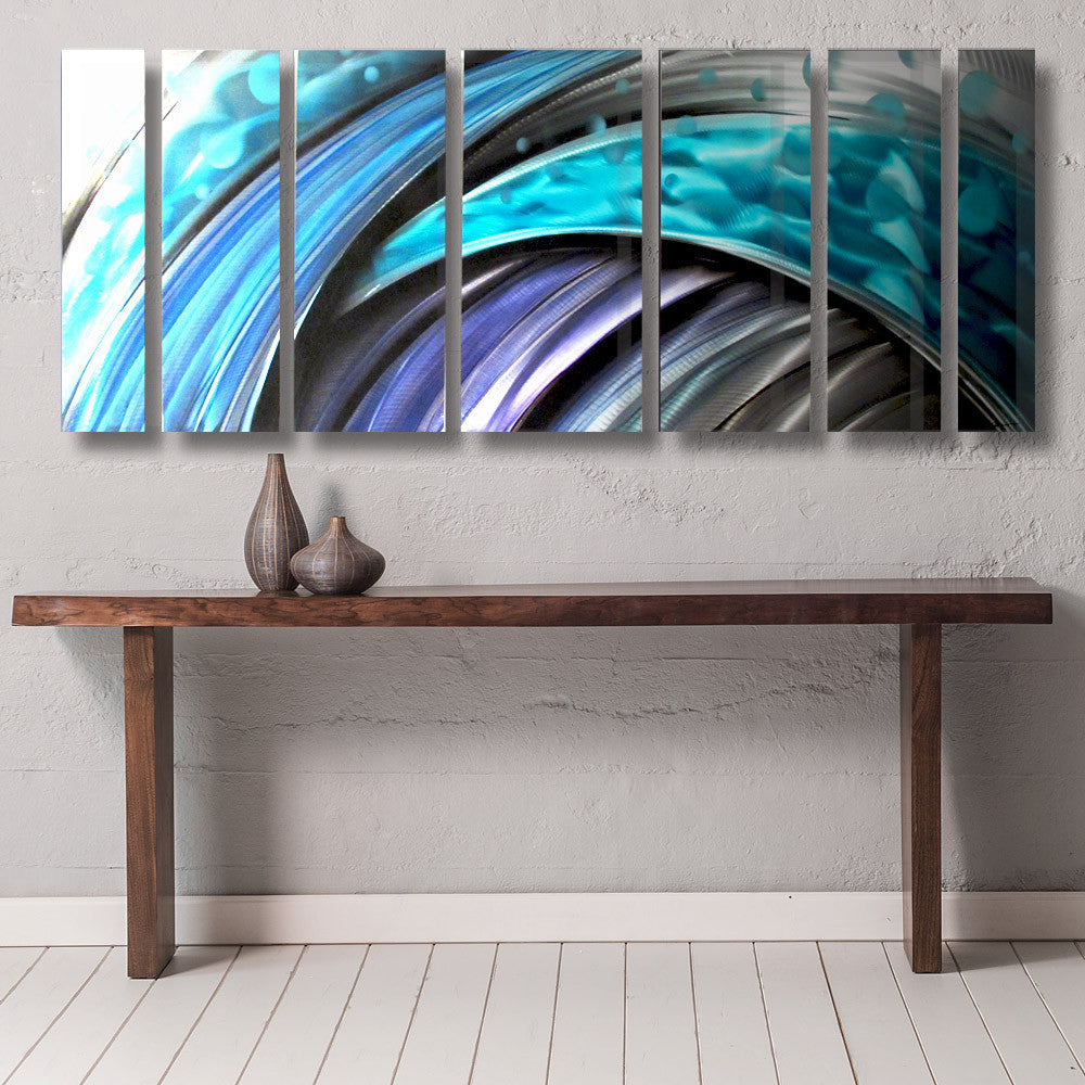 Blue ocean themed nautical metal wall art typhoon by brian jones