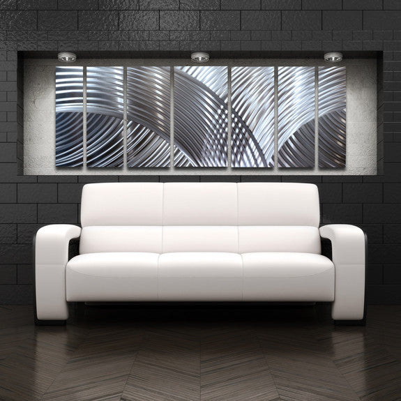 "Large Modern Wall Art unique perspective"" 68""x24"" large silver modern abstract metal"
