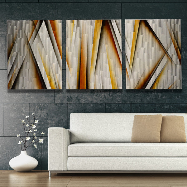 Xl 76x30 vanishing point metal wall art modern abstract sculpture contemporary painting home decor
