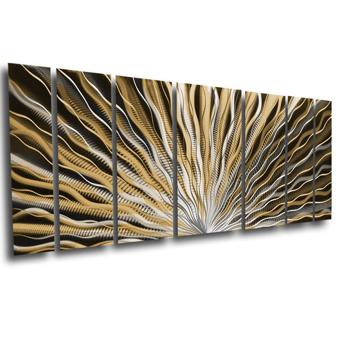 "Modern Metal Wall Decor vibration"" 66""x24"" large earthtone / brown modern abstract metal"