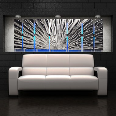 Silver Vibration LED SP  - Abstract Metal Wall Art with Smartphone Controlled LED Infused & Large Metal Wall Art Panels | Contemporary Abstract Art by DV8 Studio