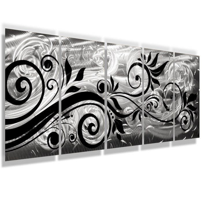 Whispering Winds 68x24 Large Silver Modern Abstract Metal Wall