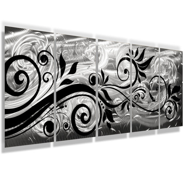"Metal Sculptures And Art Wall Decor: ""Whispering Winds"" 68""x24"" Large Silver Modern Abstract"