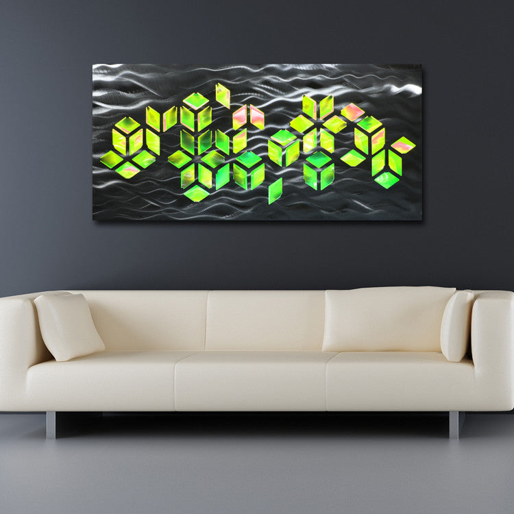 "Led Wall Art impulse"" large 46""x22"" abstract geometric design metal wall art"