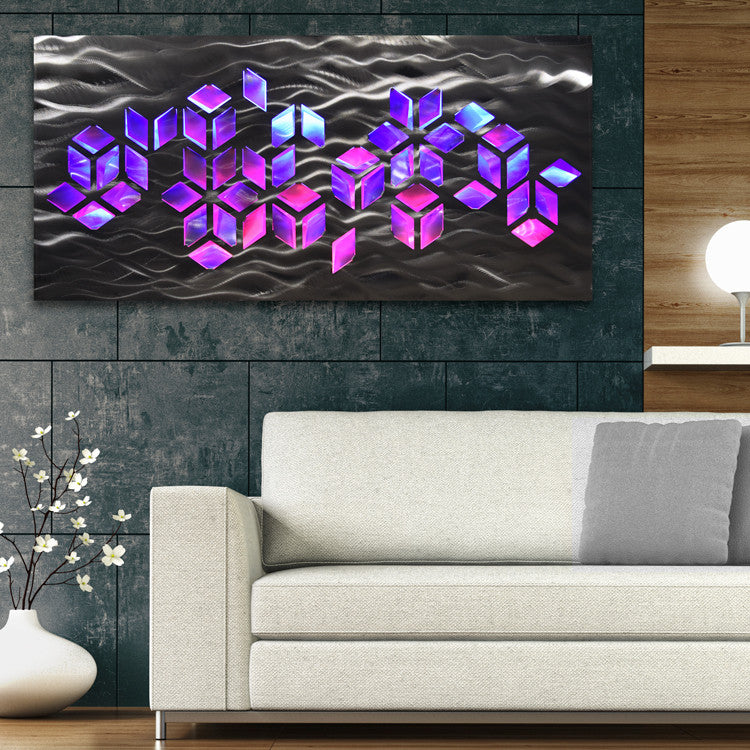 Metal Wall Art with Infused Color Changing LED Lights - DV8 Studio