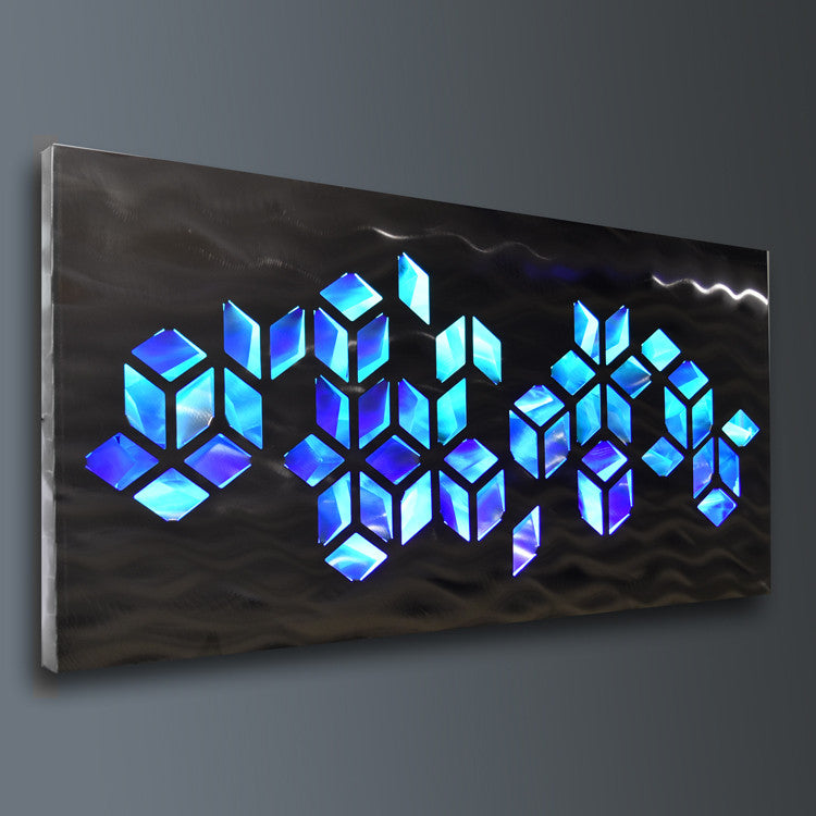 Impulse  Large 46 x22  Abstract Geometric Design Metal Wall Art with LED Infused Color Changing Lighting u0026 Remote Control & Metal Wall Art with Infused Color Changing LED Lights Tagged