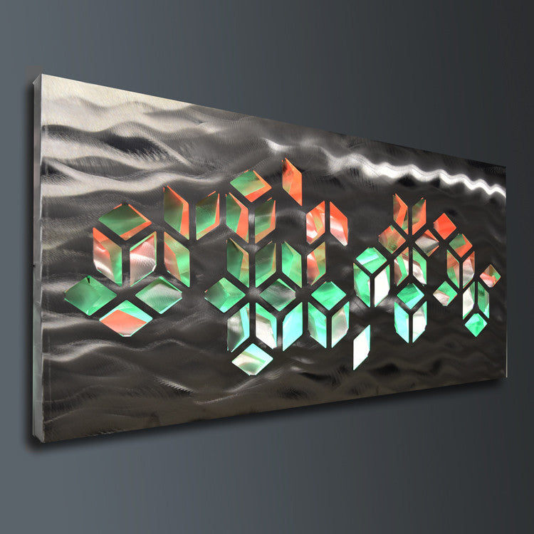 Metal Wall Art with Infused Color Changing LED Lights - DV8