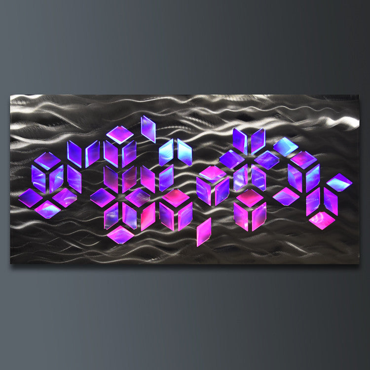 Impulse  Large 46 x22  Abstract Geometric Design Metal Wall Art with LED Infused Color Changing Lighting u0026 Remote Control & Metal Wall Art with Infused Color Changing LED Lights - DV8 Studio