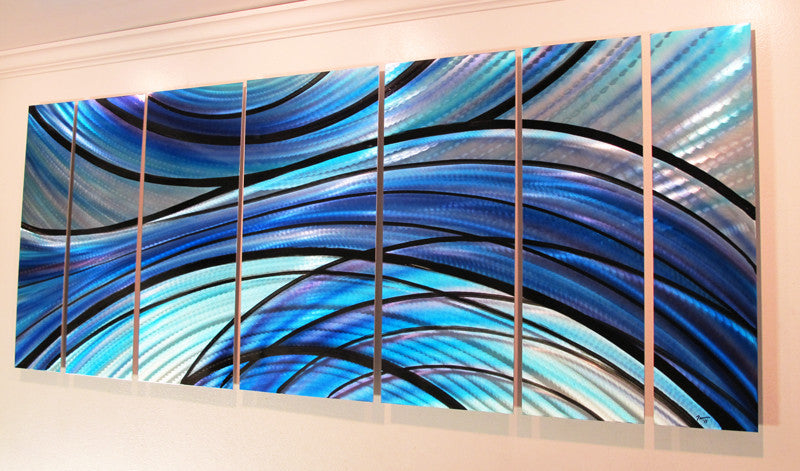 Blue Metal Wall Art aqua blue metal contemporary wall art - dv8 studio