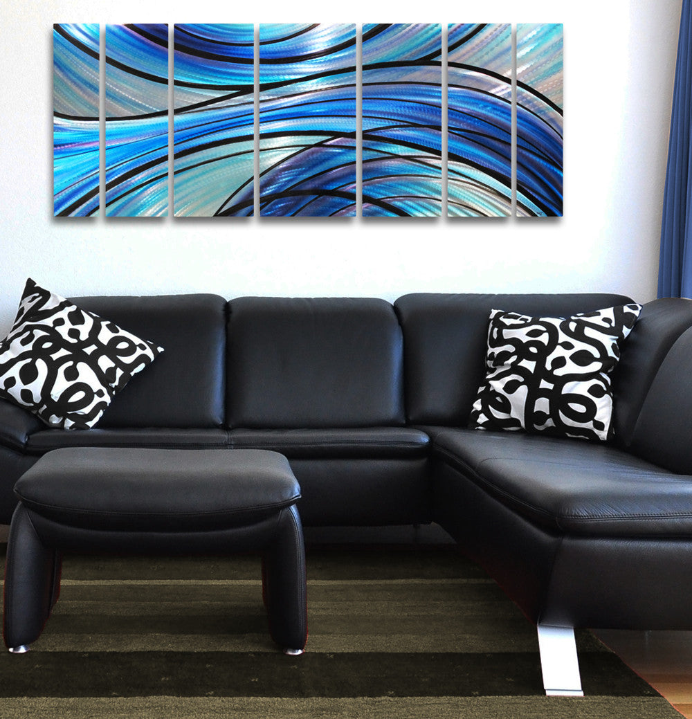 """Cascade"" 68""x24"" Large Modern Abstract Metal Wall Art"