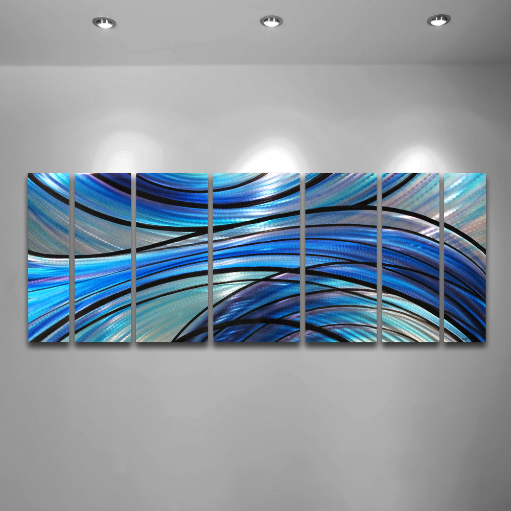 Aqua Blue Metal Contemporary Wall Art