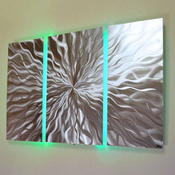 "Led Wall Art cosmic energy 3 panel"" - 40""x24"" abstract metal wall art with led"