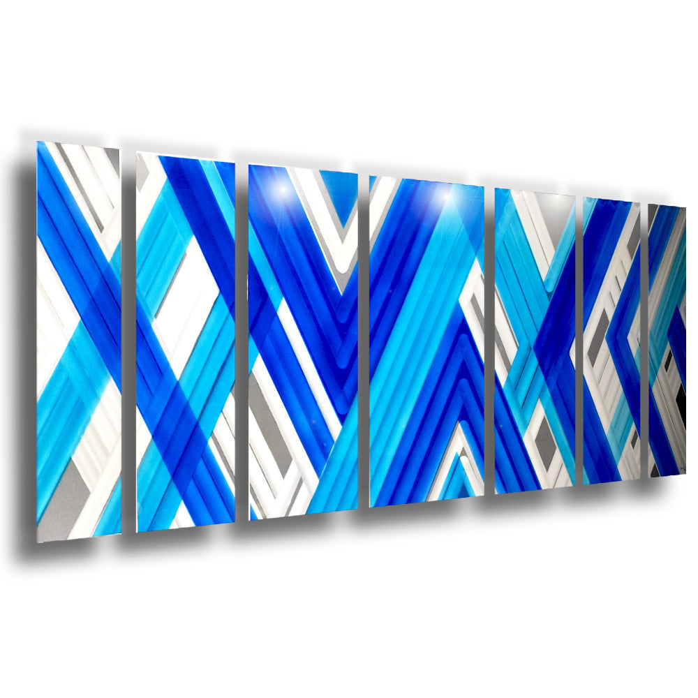 Blue Metal Wall Art Extraordinary Blue Geometric Contemporary Metal Wall Art  Dv8 Studio Inspiration Design