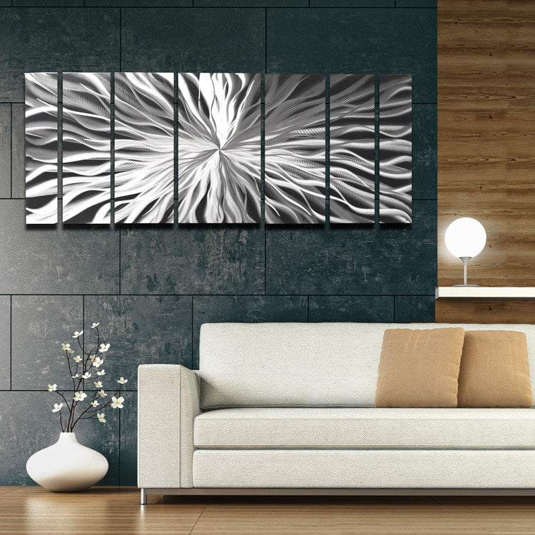 "Large Modern Wall Art bloom"" 68""x24"" large silver modern abstract metal wall art"