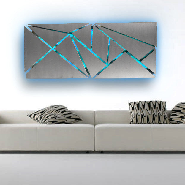 fracture lighted metal wall art sculpture with led color changing