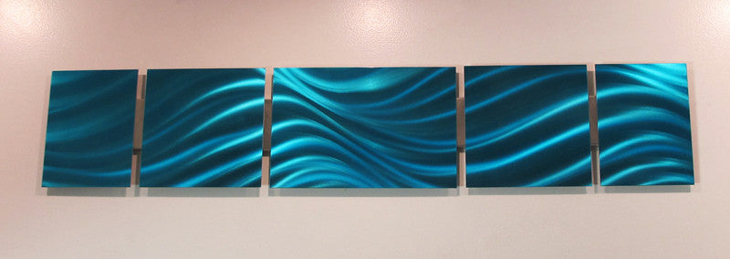 "Blue Metal Wall Art gulfstream"" 48""x8"" modern abstract metal wall art sculpture decor"