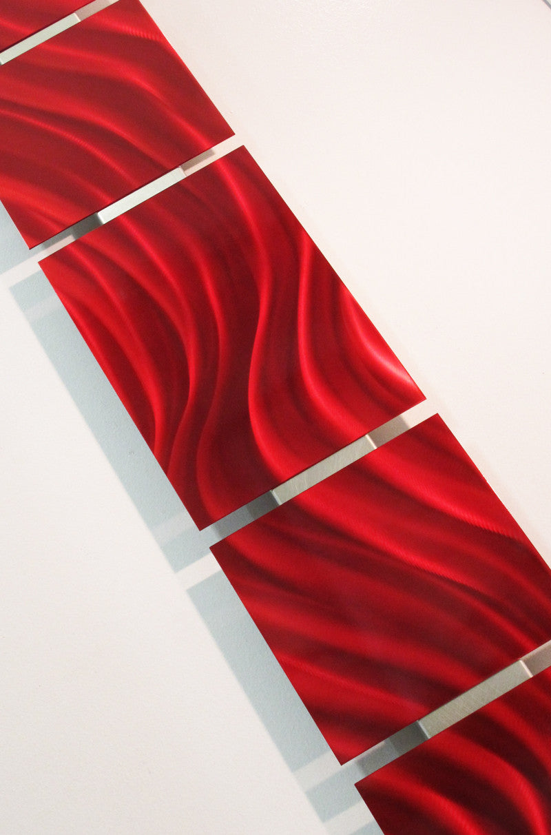 "Red Metal Wall Art Red Satin"" 48""x8"" Modern Abstract Metal Wall Art Sculpture Decor"