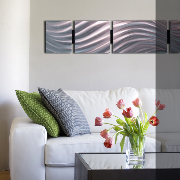 Quot Silver Sky Quot 48 Quot X8 Quot Modern Abstract Metal Wall Art