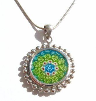 Blue Green Murano Glass Silver Pendant