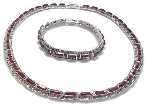 Marcasite with Agate Necklace & Bracelet Silver Set