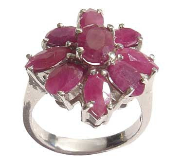 Ruby Floral Silver Ring