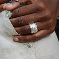 GPS Spinner Ring Made by The Zuri Collection Zimbabwe