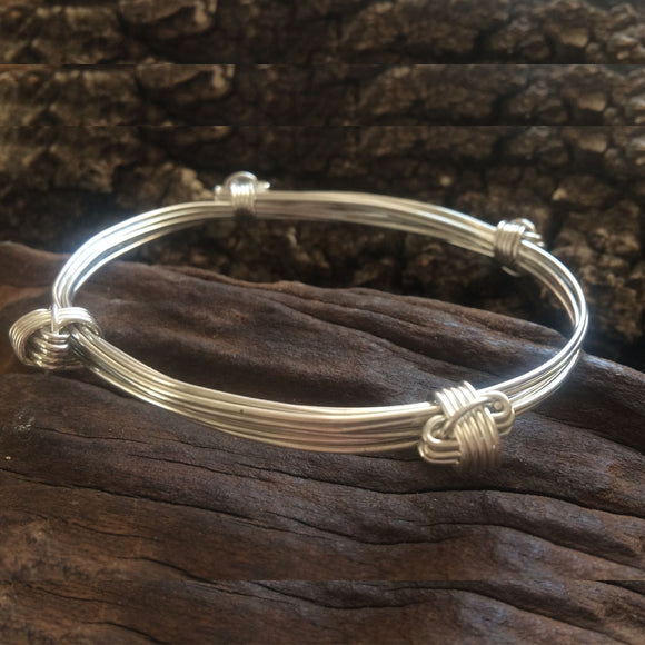 5 Strand Elephant Hair Knot Bangle in Sterling Silver w/ Story Card