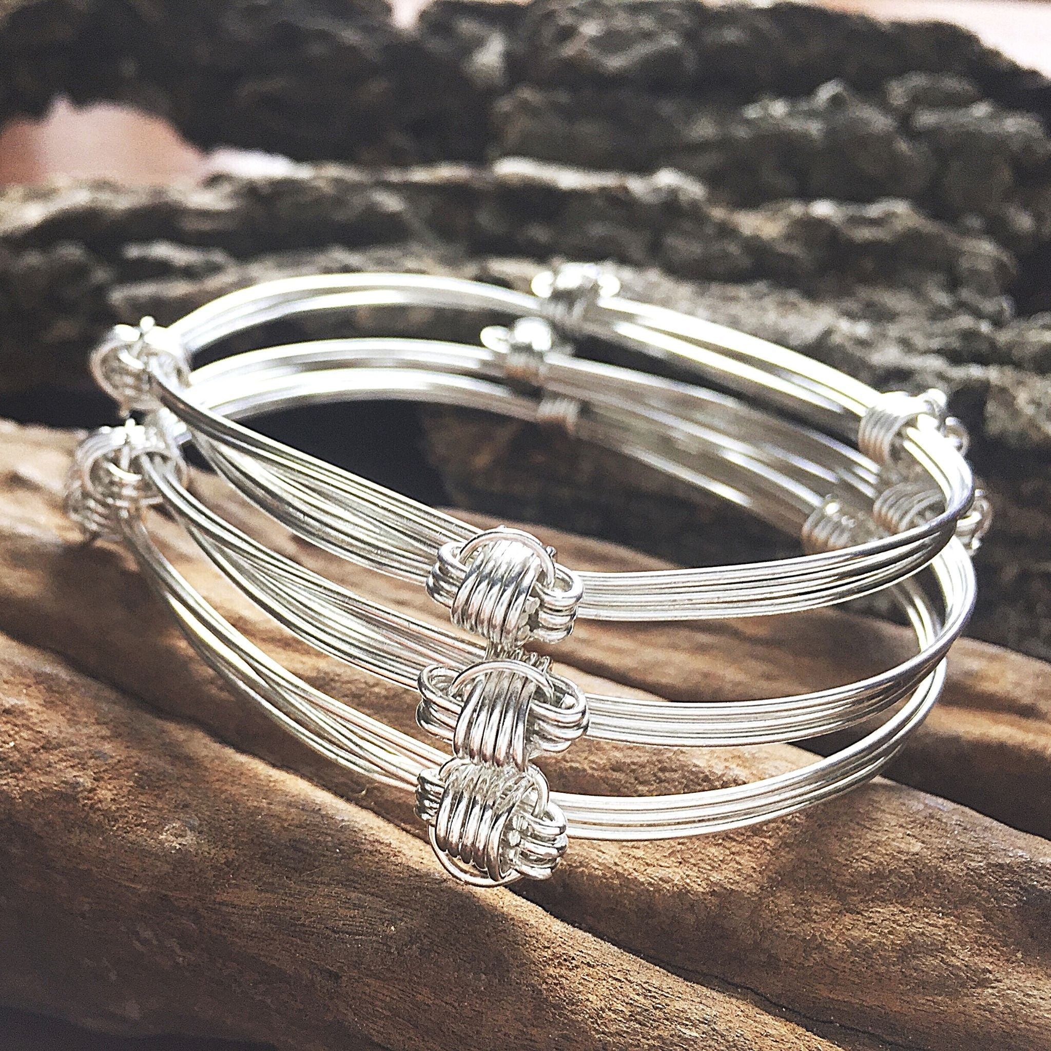 Set of 3 , 3 Strand Elephant Hair Knot Bangle in Sterling Silver w/ Story Card