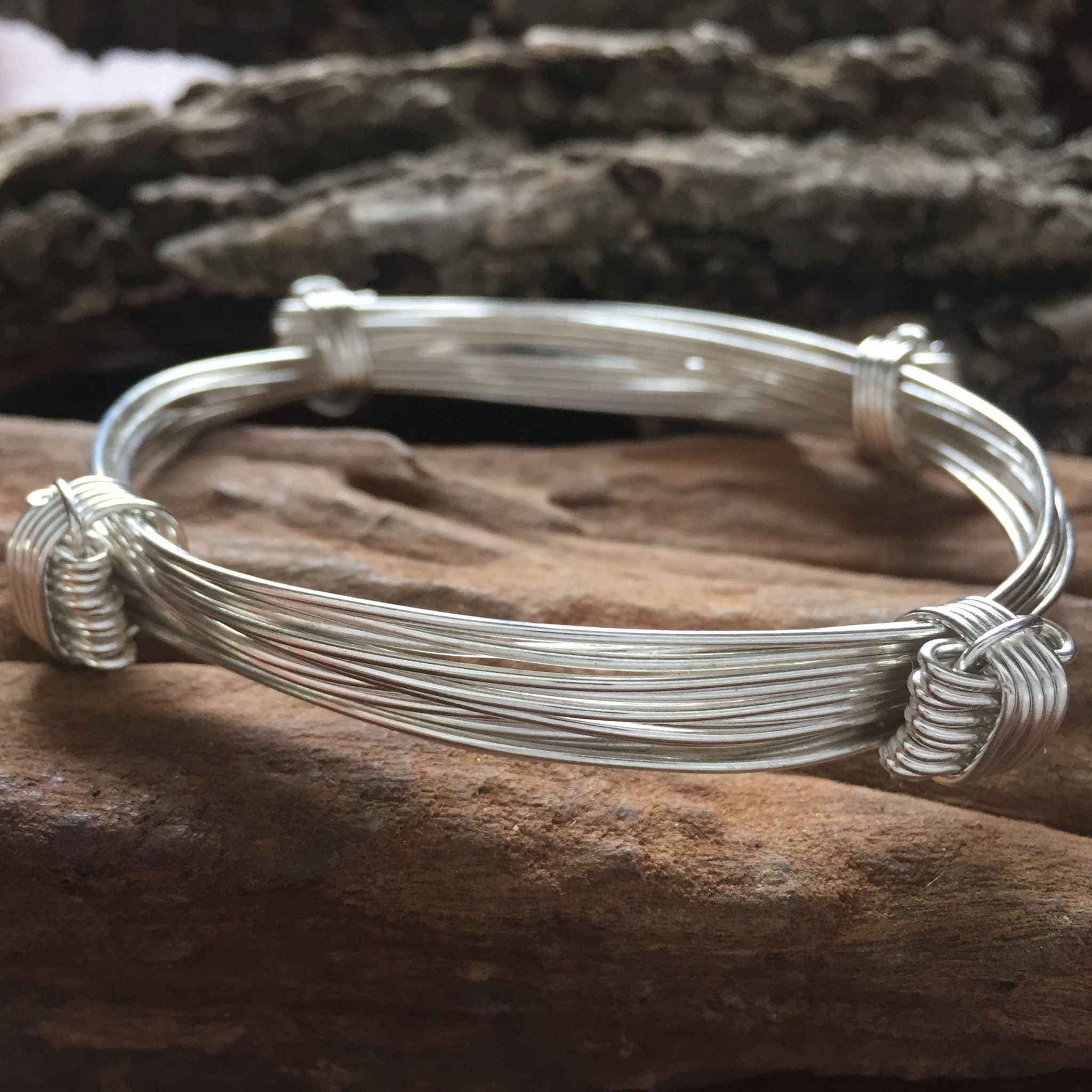 9 Strand Elephant Hair Knot Bangle in Sterling Silver w/ Story Card