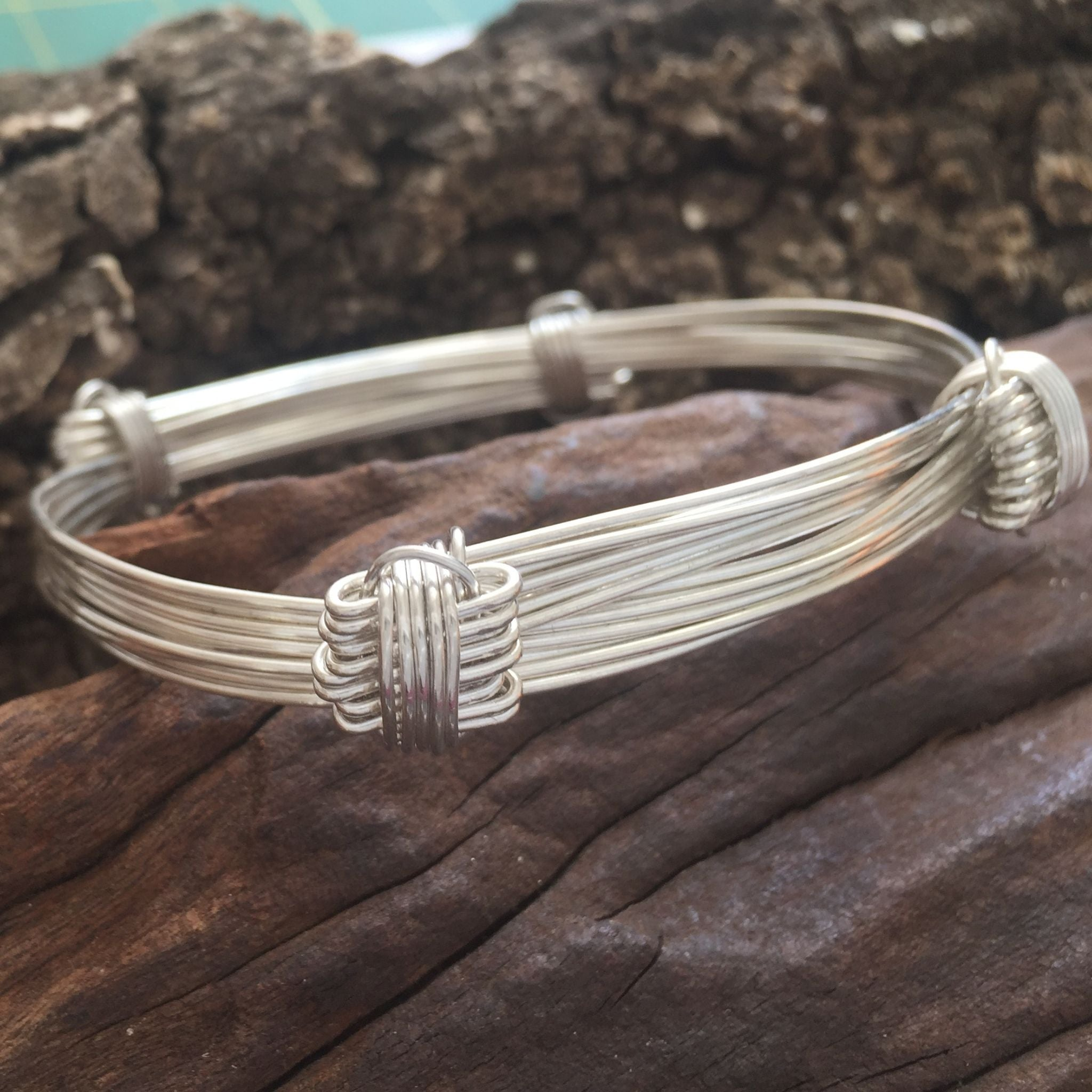 7 Strand Elephant Hair Knot Bangle in Sterling Silver w/ Story Card