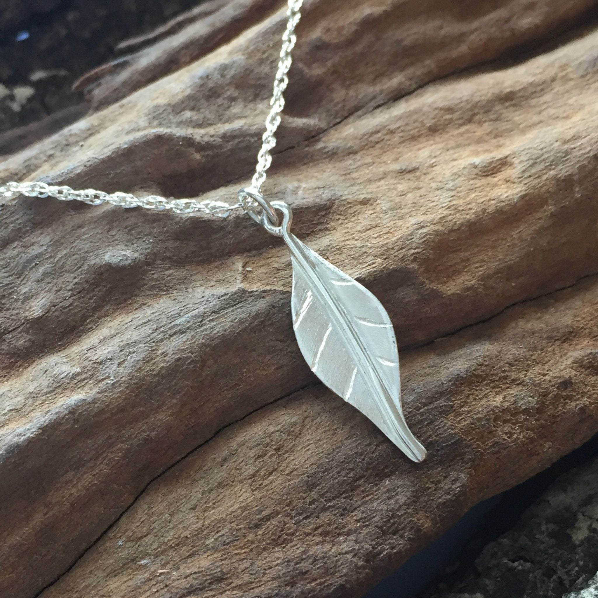 Mini Leaf Pendant in Sterling Silver
