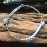3 Strand Elephant Hair Knot Bangle in Sterling Silver w/ Story Card