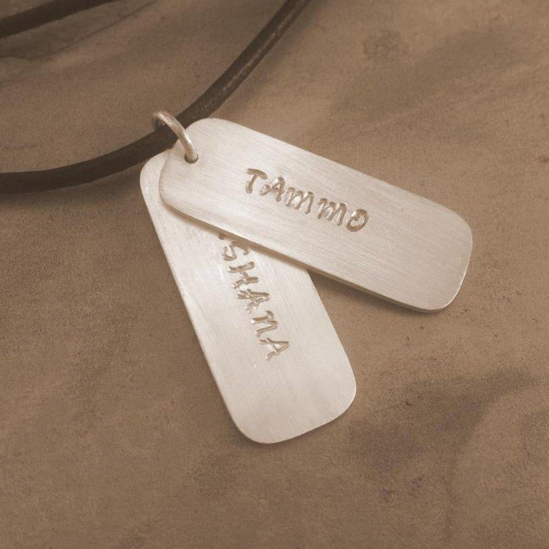 Engraved Slim Silver Dog Tags