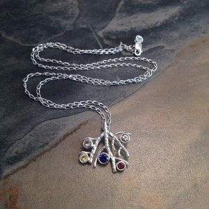Family Tree Birthstone Pendant and Necklace